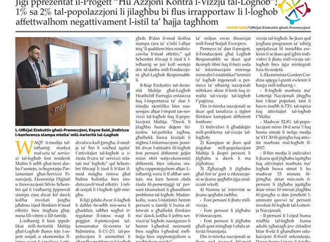 Torċa article on RGF's Project ''Take Action''