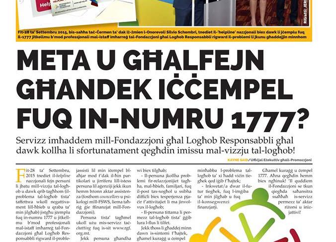 Torċa article on Helpline 1777