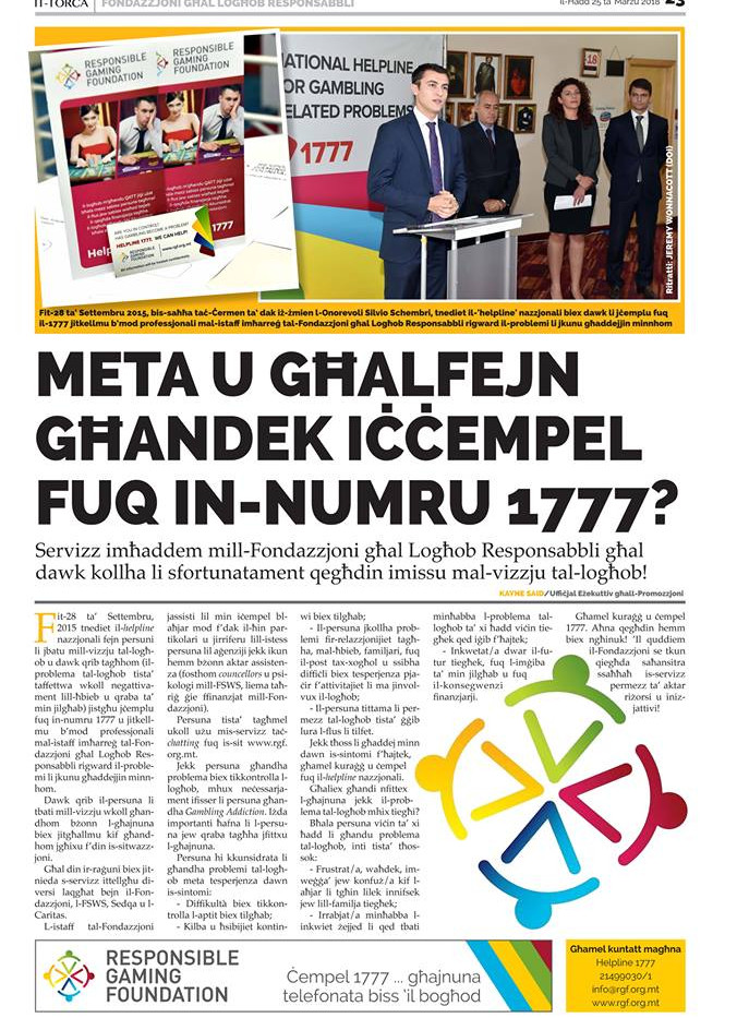 Torċa article on Helpline 1777