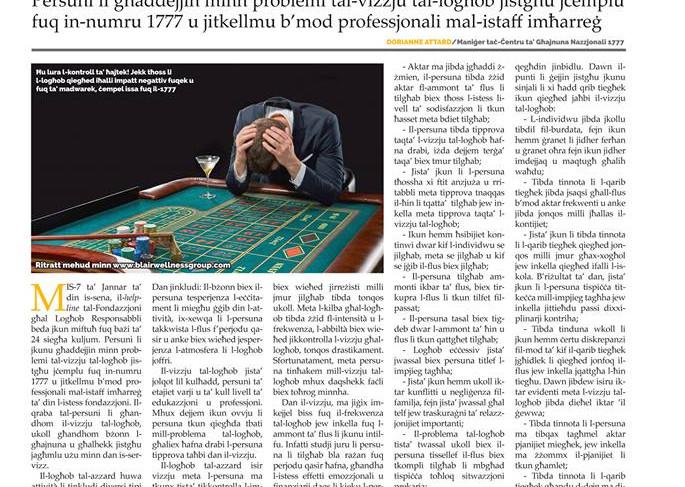 Torċa article on help against gambling