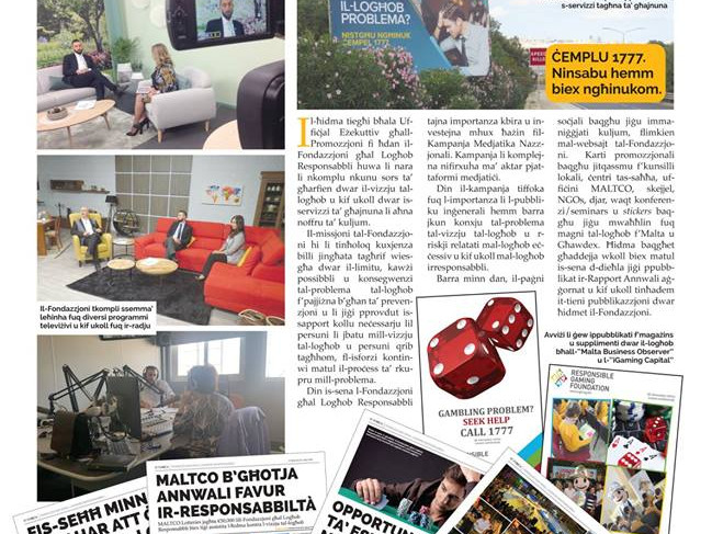 Torċa article on Promoting the RGF as a source of information on gambling