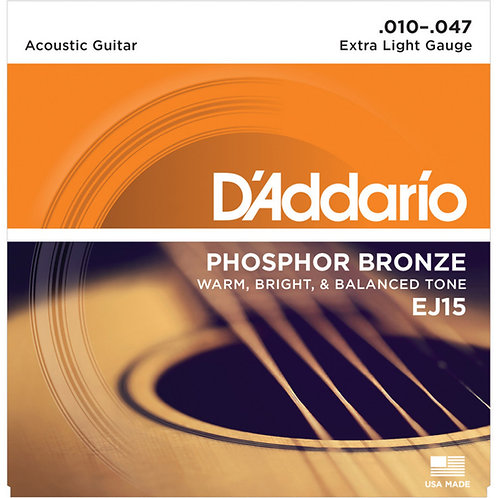 D'Addario EJ15 PHOSPHOR BRONZE 10-47 EXTRA LIGHT ACOUSTIC STRINGS