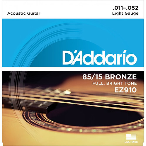 D'Addario EZ910 85/15 BRONZE 11-52 LIGHT ACOUSTIC STRINGS