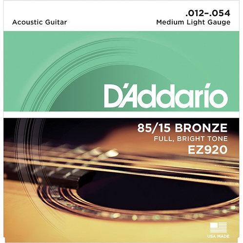 D'Addario EZ920 85/15 BRONZE 12-54 MEDIUM LIGHT ACOUSTIC STRINGS