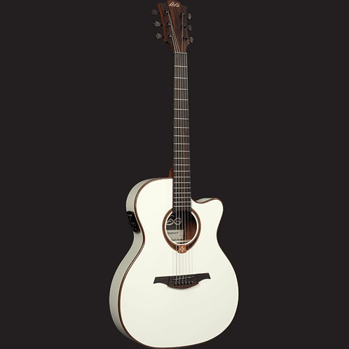 LAG T118SA CE Auditorium Solid Top Electro-Acoustic Guitar White