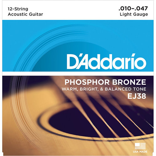 D'Addario EJ38 PHOSPHOR BRONZE 10-47 (12 STRING) ACOUSTIC STRINGS