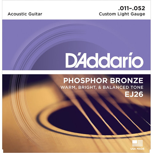 D'Addario EJ26 PHOSPHOR BRONZE 11-52 CUSTOM LIGHT ACOUSTIC STRINGS
