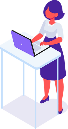 women standing with laptop iilustration