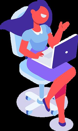 women illustration seting with laptop