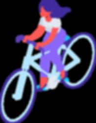 women on bike illustration