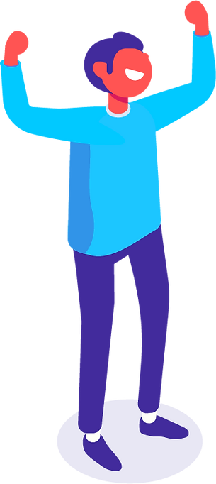 man standing with hands in the air iilustration