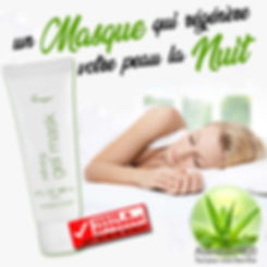 Un masque Gel Aloe vera a laisser poser toute la nuit ; optimise le processus de récupération nocturne de la peau