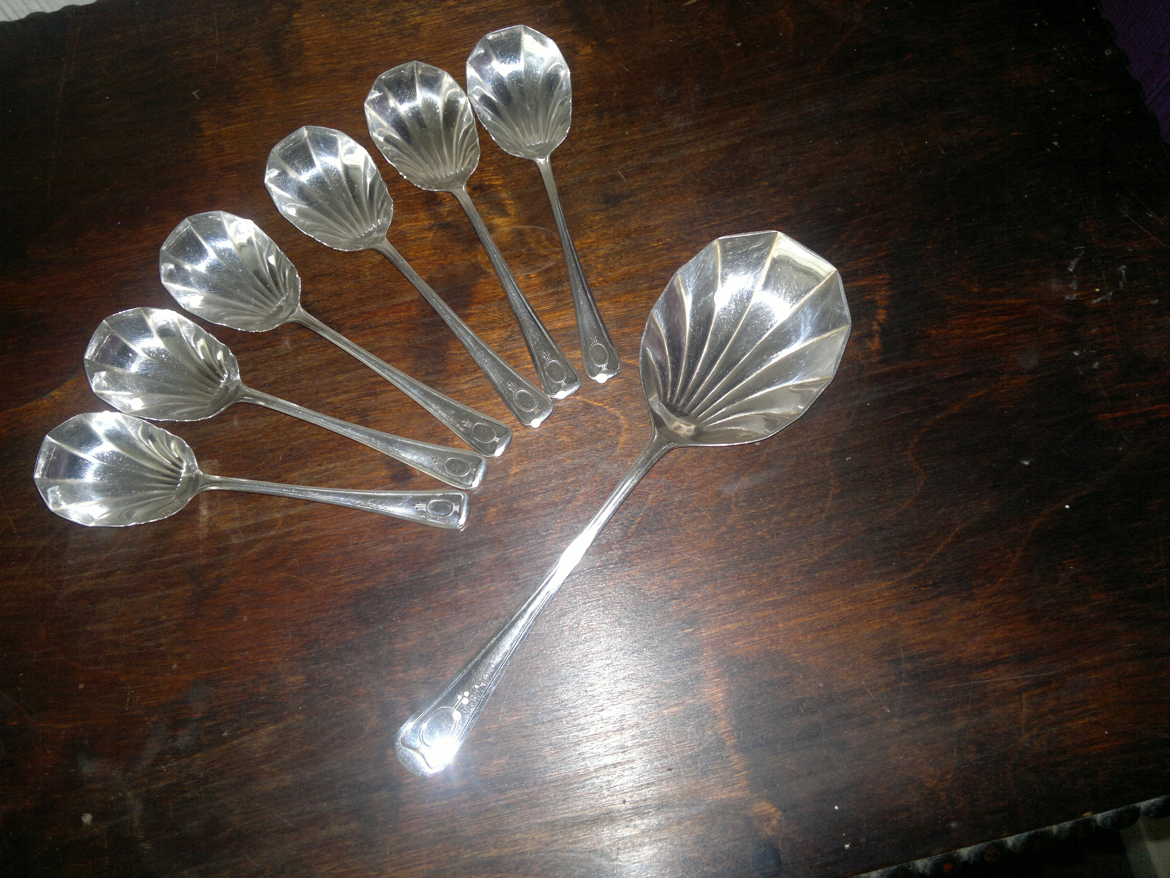 Set of Vintage Shell Desert Spoons