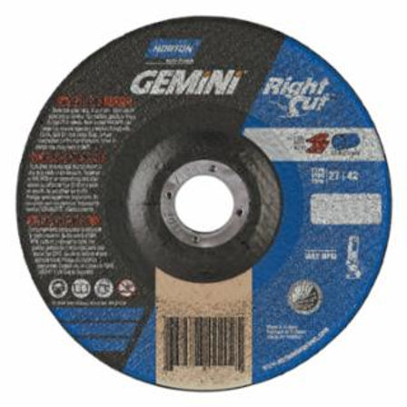 Right Cut Cut-Off Wheel, Type 1, 6 in Dia, .045 in Thick, 36 Grit Alum. Oxide