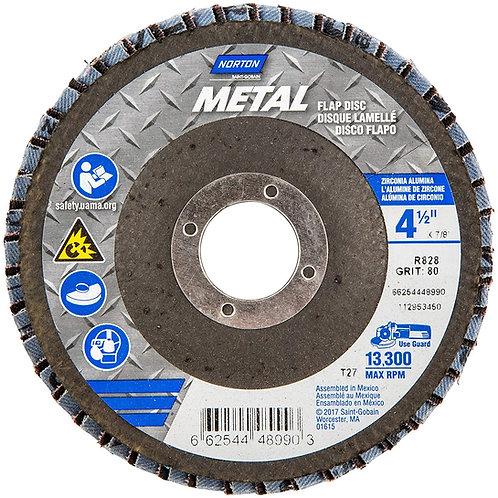 Metal Zirconia Alumina Type 27, 4 1/2 in, 80 Grit, 7/8 in Arbor