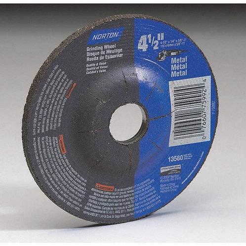 """4-1/2"""" Type 27 Aluminum Oxide Depressed Center Wheels, 7/8"""" Arbor, 1/4""""-Thick, 1"""
