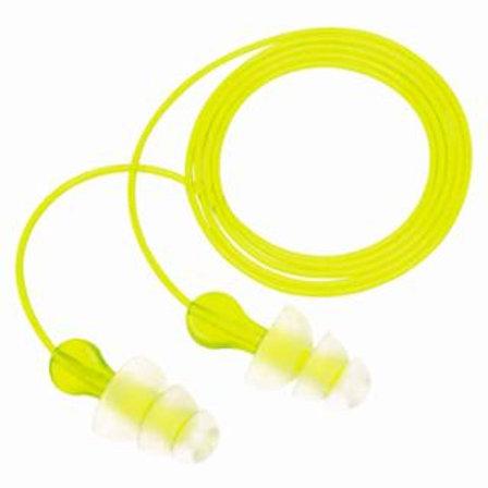 Tri-Flange Earplugs, Elastomeric Polymer, Corded