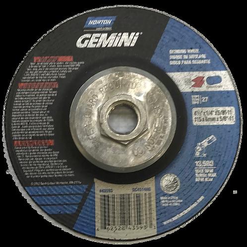 """4-1/2"""" Type 27 Aluminum Oxide Depressed Wheels, 7/8"""" OR 5/8-11 Arbor, 1/4""""-Thick"""