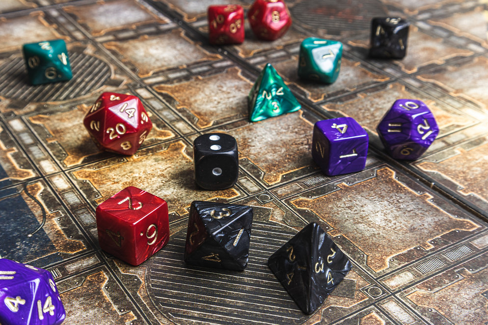 Set of role playing dice on a gaming mat