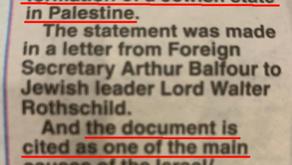 SCOTTISH PAPER PROMOTES PALESTINIAN NARRATIVE ON BALFOUR