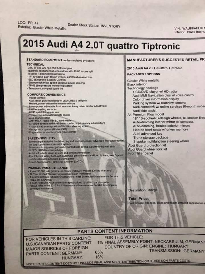 2015 AUDI A4 QUATTRO o