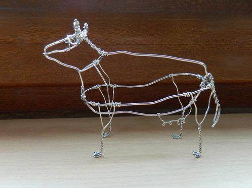 Animaux en fil de fer - Vache (en fil brillant)