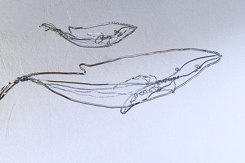 Animaux en fil de fer - Baleine et Baleineau (en fil brillant)