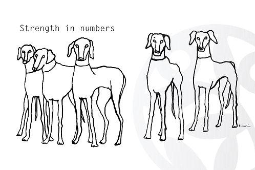 """dessin à télécharger """"Cinq chiens"""" (S-size)"""