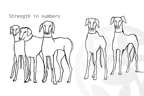 """dessin à télécharger """"Cinq chiens"""" (L-size)"""