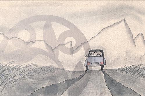 """dessin à télécharger """"paysage avec 2CV"""""""