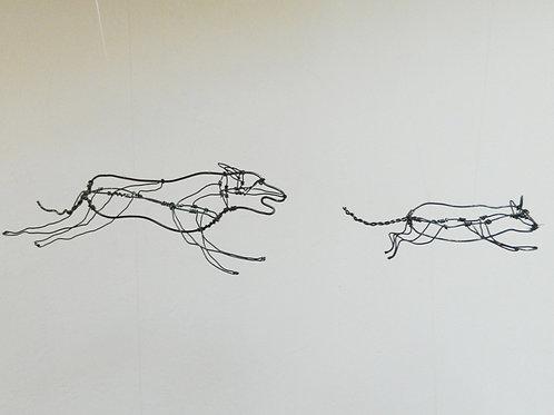 """""""Chien et Chat"""" en fil (objet à suspendre)"""
