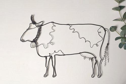 """Décoration """"Vache"""" (décoration murale) en fil de fer"""