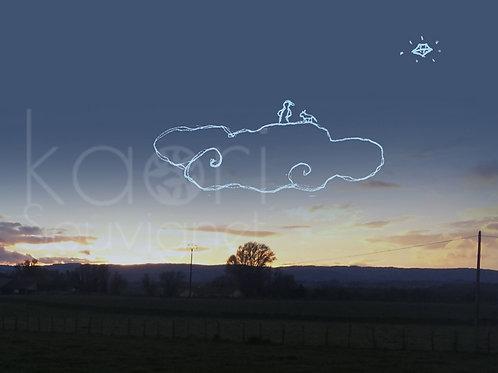 """dessin à télécharger - Spécial Fond d'écrin """"homme sur nuage"""""""