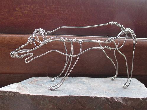 Animaux en fil de fer - Chien des fables d'Ésope (en fil brillant)