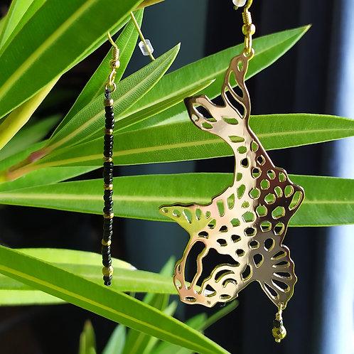 """Boucles d'oreilles """"Poisson Koï"""" perles noires, boucles d'oreilles japonais"""