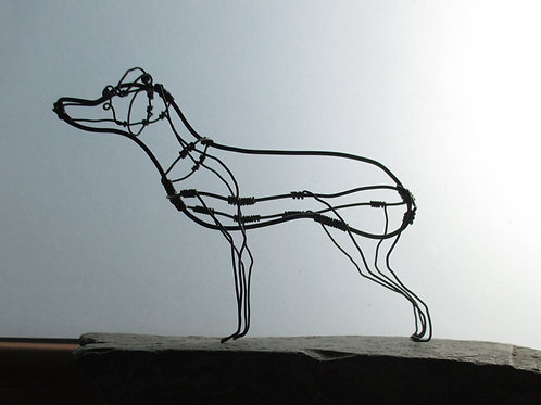 Animal en fil de fer - Chien Épagneul Breton (en fil noir)