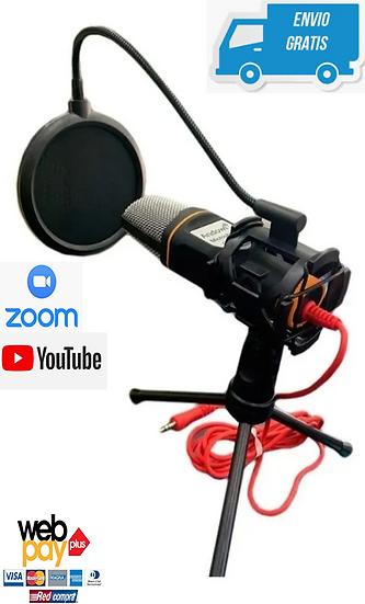 Micrófono Condensador Streaming Filtro Youtuber + Tripode