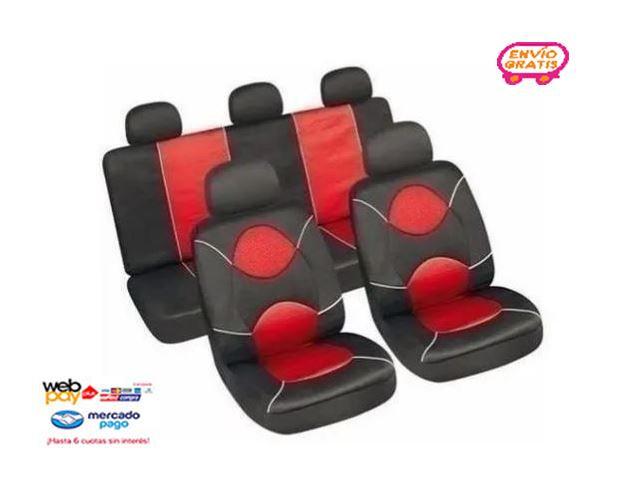 Funda Cubreasiento Universal Rojo Con Negro