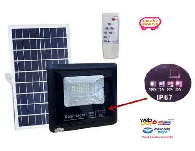 Foco 48 Led 25w + Panel Solar + Control
