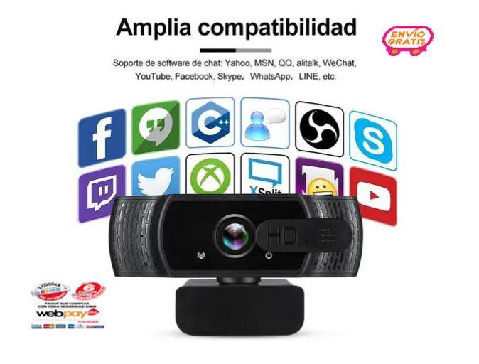 Camara Web Hd 1080p Con Microfono Y Tripié Zoom Usb Webcam