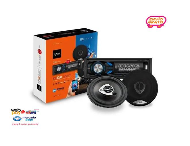 Pack Radio Bluetooth Usb Aux + Parlantes 10 Cm Microlab Mlab