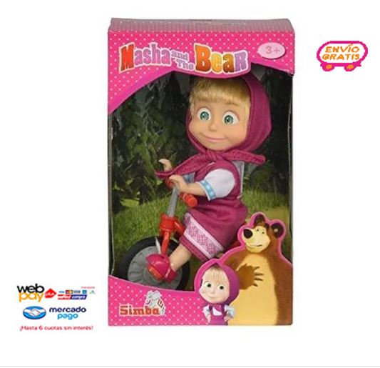 Muñeca Masha Y El Oso Triciclo 12 Cm Juguete Simba Fx02