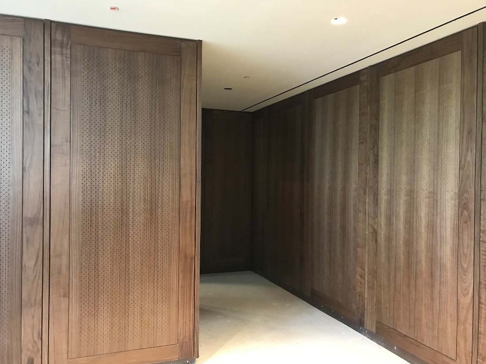 Walnut paneling in the rental space