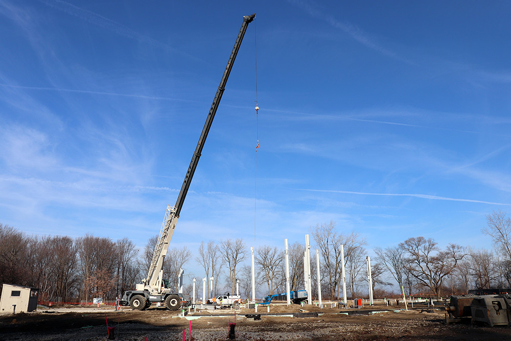 Steel columns going up for the Ford House Visitor Center.