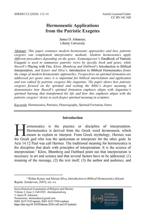 Hermeneutic Applications from the Patristic Exegetes
