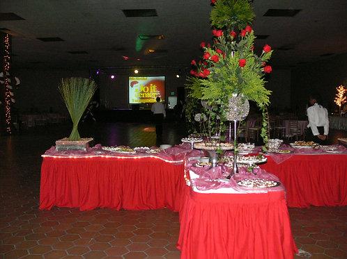 Mantel rectangular y rucha roja
