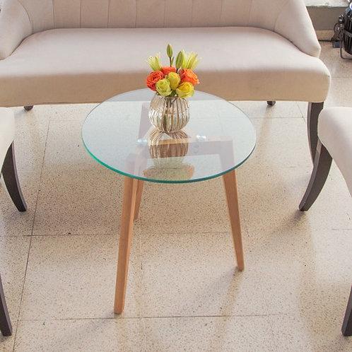 Mesa Auxiliar redonda de vidrio con patas de madera