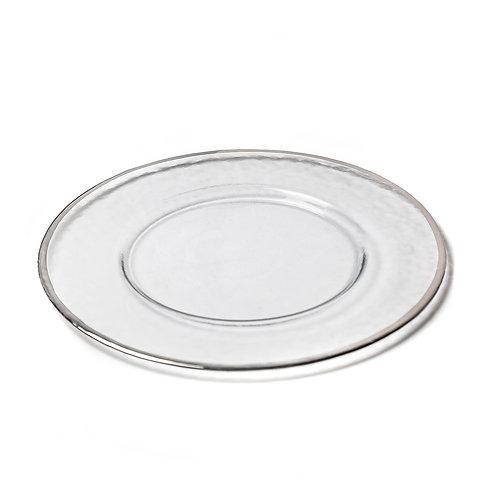 Porta platos - Transparente con Borde Plateado