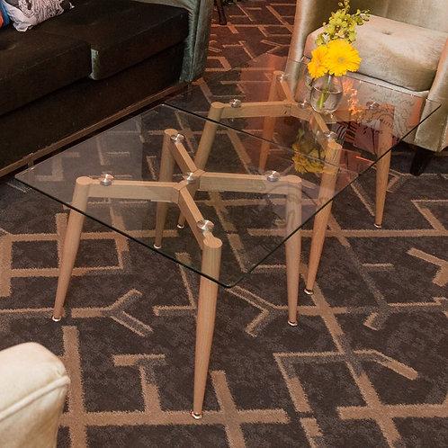Mesa Auxiliar cuadrada de vidrio y patas de madera