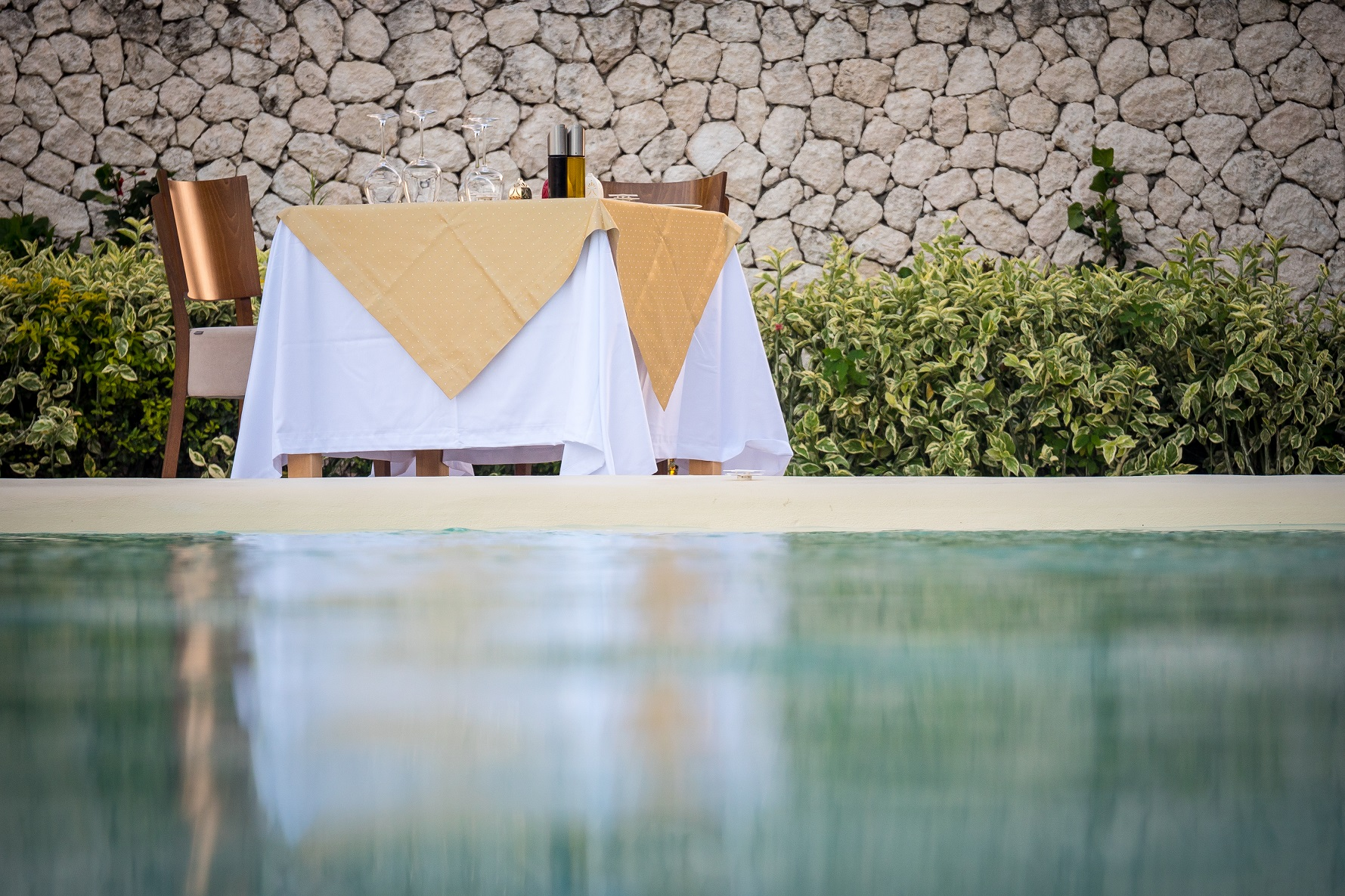 Table by the pool